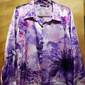 Mult-purple Silky Button-up Blouse